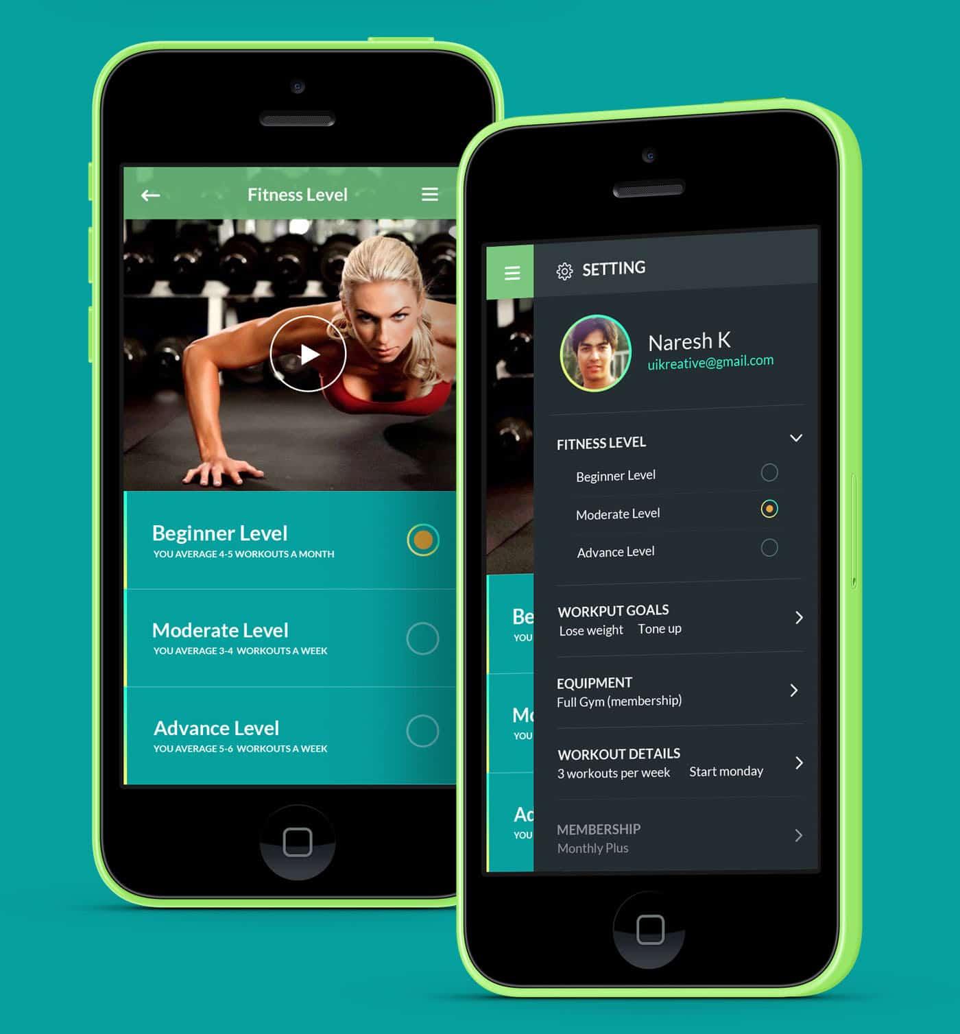 adasse gym workout mobile app by naresh kumar design ideas