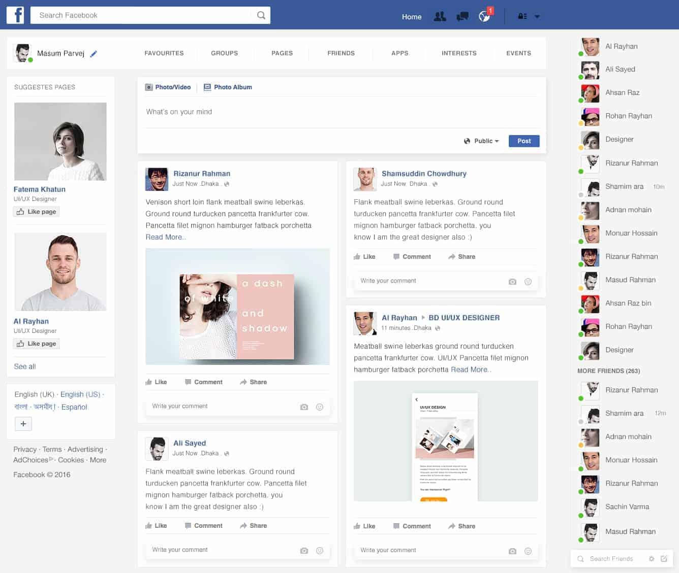 Facebook Home Page Redesign - Design Ideas