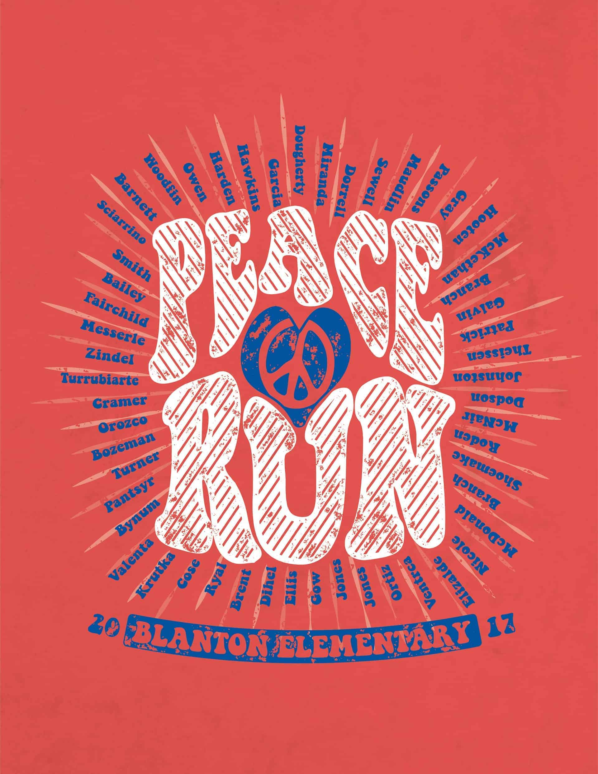 Peace And Love Fun Run T Shirt Design Design Ideas