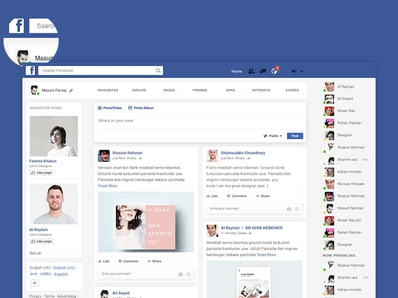 Facebook home page redesign design ideas for Design ideas facebook