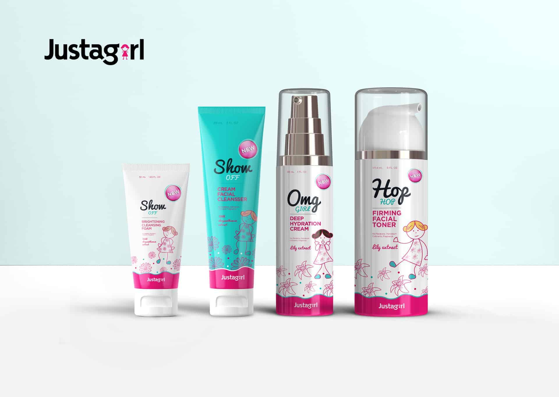 Just A Girl Brand - Teen Skincare Package Design